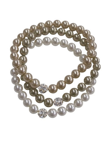 Cezanne Three Row Fireball Pearl Bracelet-TRI COLOUR-One Size