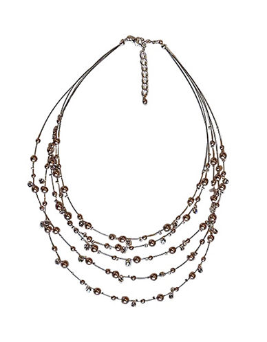 Cezanne Five Row Illusion Necklace-BEIGE-One Size