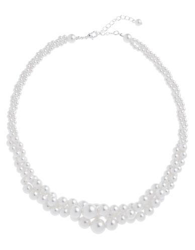 Cezanne 3 Row Pearl Twist Necklace-IVORY-One Size