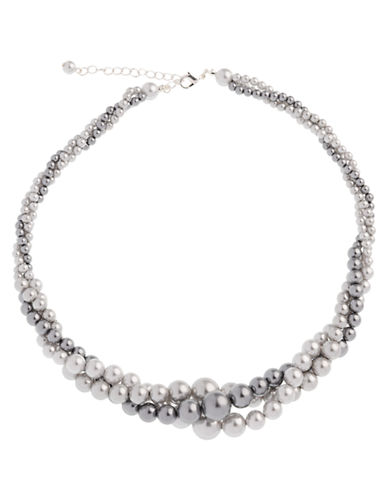 Cezanne 3 Row Pearl Twist Necklace-GREY-One Size