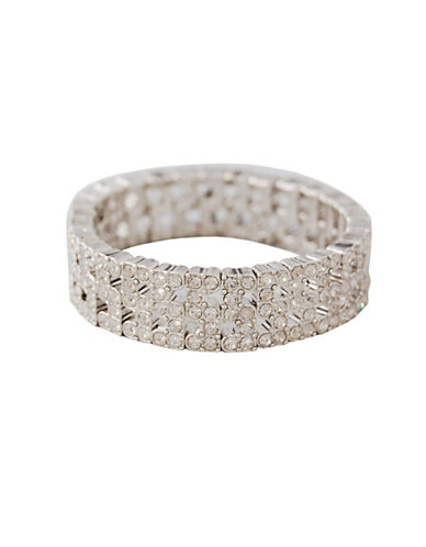 Anne Klein Three Row Stretch Bracelet-CRYSTAL-One Size