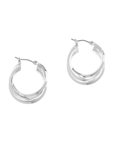 Anne Klein Pierced 3 Ring Hoop Earring-SILVER-One Size