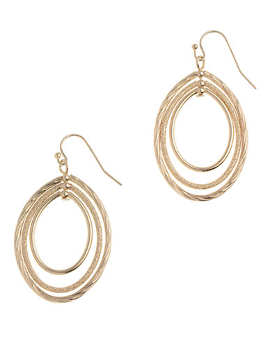Anne Klein Pierced Small Oval Hoop Earring-GOLD-One Size
