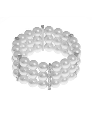 Cezanne 3 Row Pearl And Crystal Stretch Bracelet-PEARL-One Size