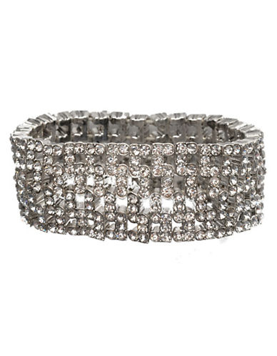 Anne Klein Wide Stretch Bracelet-CRYSTAL-One Size