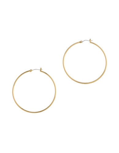 Nine West Large clickit basic hoop in gold tone metal.-GOLD-One Size