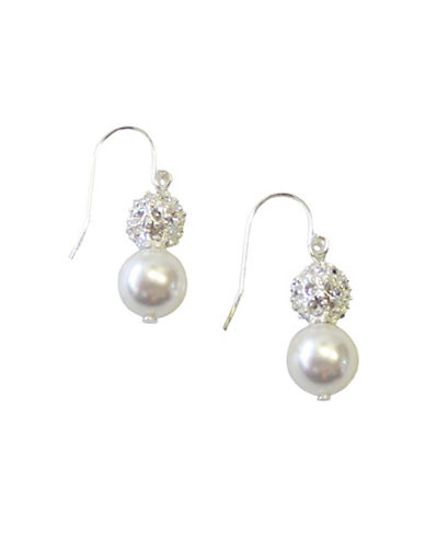 Cezanne Double Drop Fireball And Pearl Fish Hook Earring-WHITE-One Size