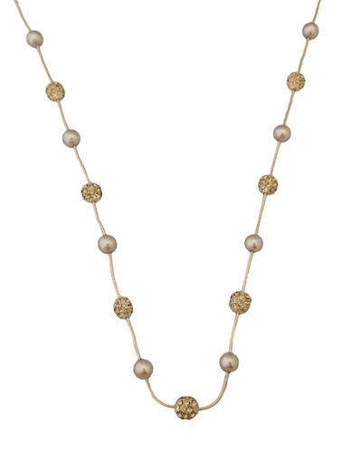 Cezanne Pearl And Fireball Station Necklace-GOLD-One Size