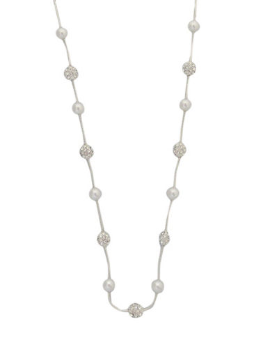 Cezanne Pearl And Fireball Station Necklace-SILVER-One Size