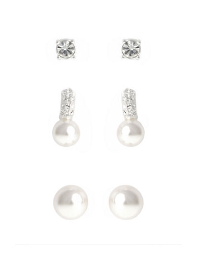 Cezanne Crystal And Pearl Trio Stud Earring Set-IVORY-One Size