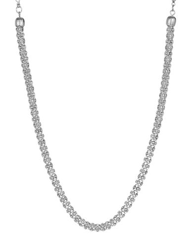 Anne Klein Stone 16In Tube Pave Necklace-S SILVER-One Size