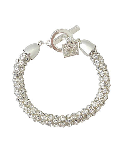 Anne Klein Stone Tube Pave Toggle Bracelet-SILVER-One Size