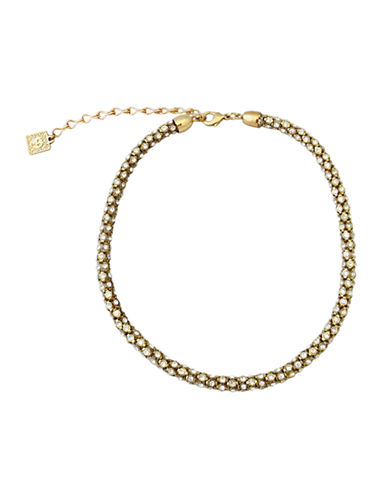 Anne Klein Stone 16In Tube Pave Necklace-GOLD-One Size