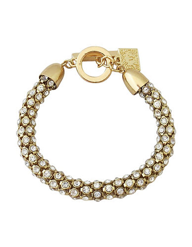 Anne Klein Stone Tube Pave Toggle Bracelet-GOLD-One Size