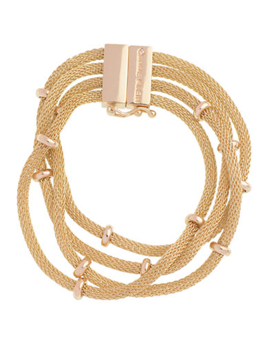 Anne Klein 7.5 Inch Multi Row Line Bracelet-GOLD-One Size