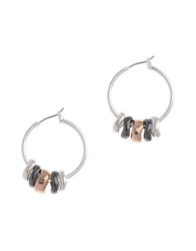Nine West Pierced Shaky Clickit Hoop Earring-ROSEGOLD-One Size