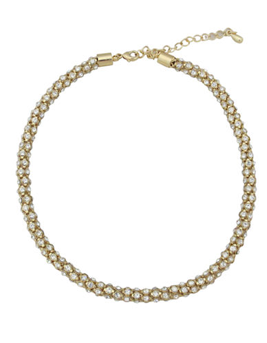 Cezanne Metal Crystal Collar Necklace-GOLD-One Size