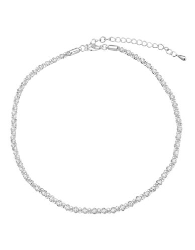 Cezanne Metal Crystal Collar Necklace-SILVER-One Size