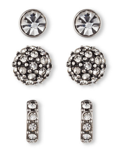 Lonna & Lilly Set of Three Circular Trio Stud Earrings-SILVER-One Size