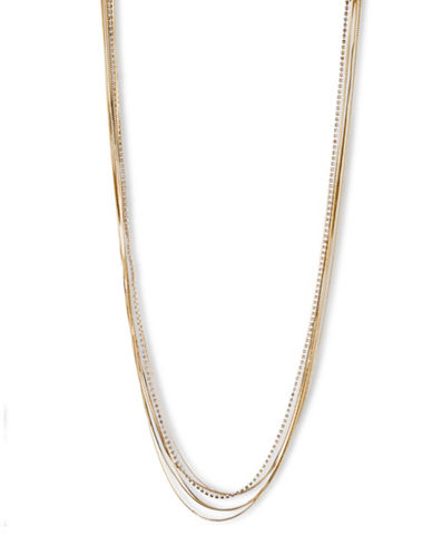 Lonna & Lilly Delicate Multi-Row Contrast Necklace-GOLD-One Size