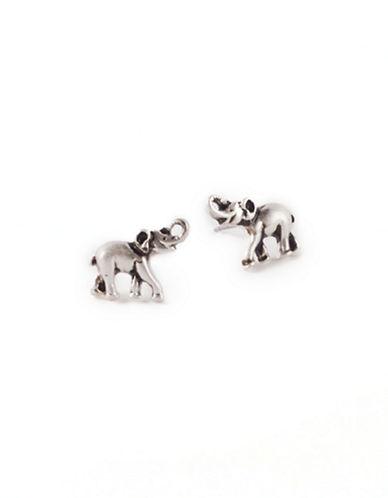 Lonna & Lilly Silvertone Elephant Stud Earrings-SILVER-One Size