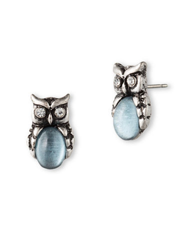 Lonna & Lilly Owl Stud Earrings-BLUE-One Size