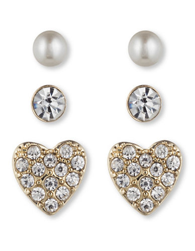 Lonna & Lilly Three-Pack Heart Button Earrings-CRYSTAL-One Size
