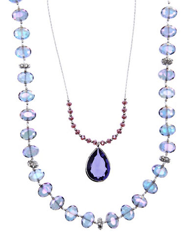 Lonna & Lilly Multi-Row Beads Stone Pendant Necklace-PURPLE-One Size