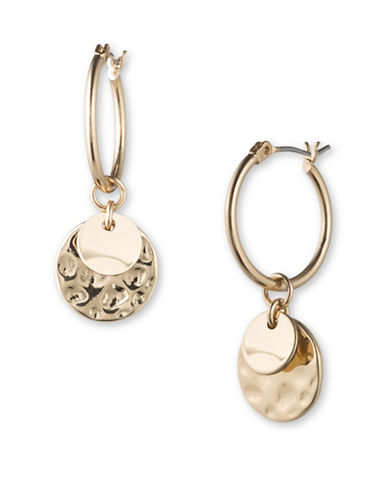 Lonna & Lilly Double Contrast Texture Disc Drop Earrings-GOLD-One Size
