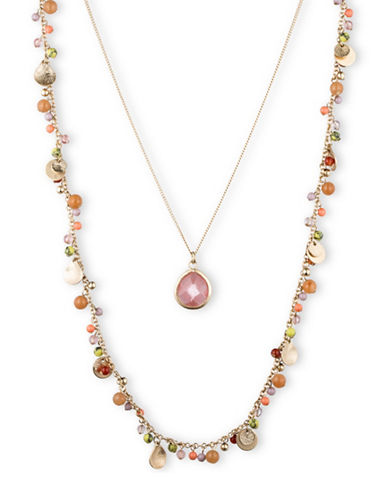 Lonna & Lilly Double Strand Hammered Disc Beaded Necklace-PINK-One Size