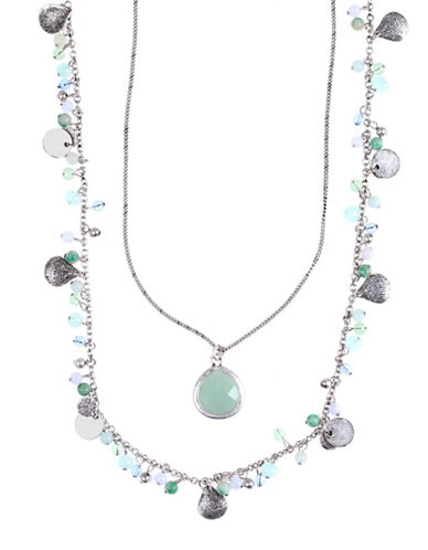 Lonna & Lilly Double Strand Hammered Disc Beaded Necklace-BLUE-One Size