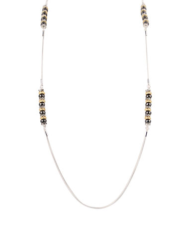 Nine West Snake Chain Beaded Necklace-GOLD-One Size