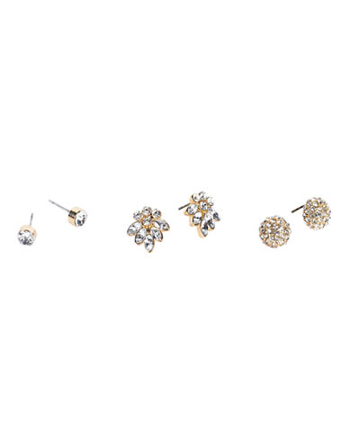 Cezanne Three-Pack Rhinestone Earrings-CRYSTAL-One Size