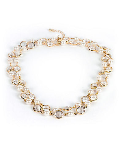 Cezanne Double Strand Faux Pearl and Rhinestone Necklace-IVORY-One Size