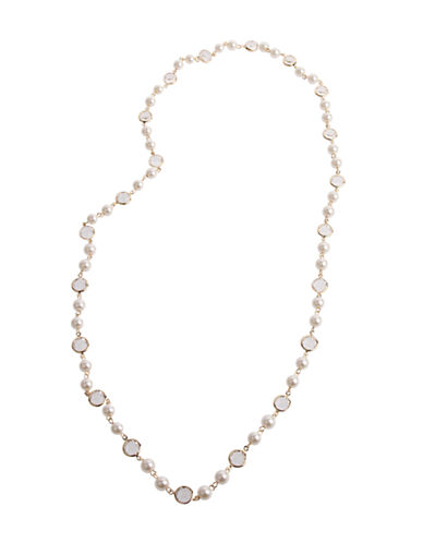 Cezanne Elongated Faux Pearl Necklace-IVORY-One Size