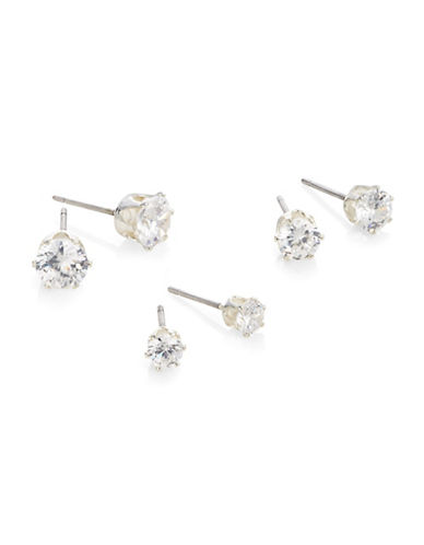 Anne Klein Cubic Zirconia Stud Earring Trio-SILVER-One Size