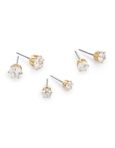 Anne Klein Cubic Zirconia Stud Earring Trio-GOLD-One Size