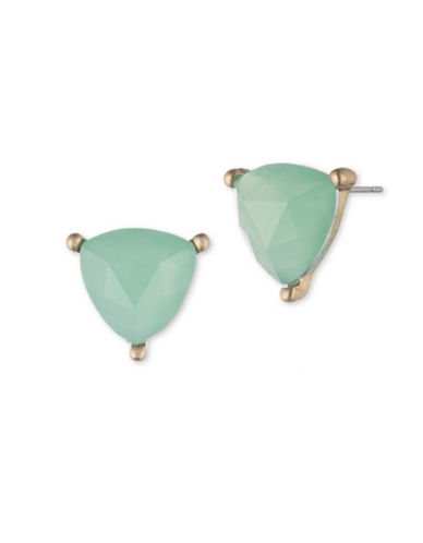 Lonna & Lilly Pacific Opal Trillion Stud Earrings-GREEN-One Size