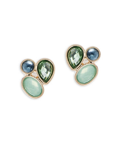 Lonna & Lilly Cluster Stud Earrings-GREEN-One Size