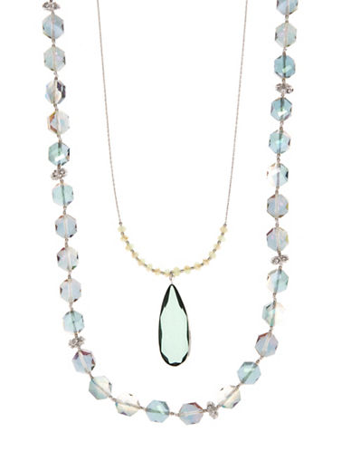 Lonna & Lilly Multi-Row Beads Stone Pendant Necklace-GREEN-One Size