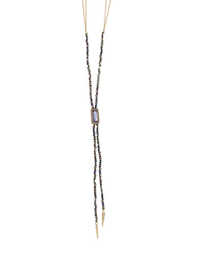 Lonna & Lilly Centre Pave Stone Y-Necklace-PURPLE-One Size