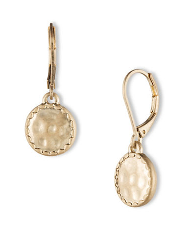 Lonna & Lilly Scallop Trim Disc Drop Earrings-GOLD-One Size