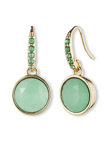 Lonna & Lilly Circle Stone Engraved Drop Earrings-GREEN-One Size