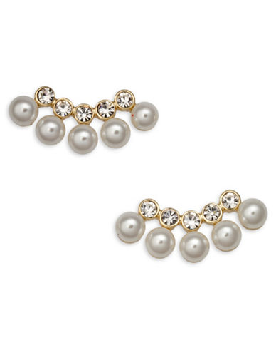 Cezanne Links Faux Pearls Goldtone Jacket Earrings-GOLD-One Size