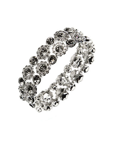 Nine West Rhinestone Cut-Out Stretch Bracelet-SILVER-One Size