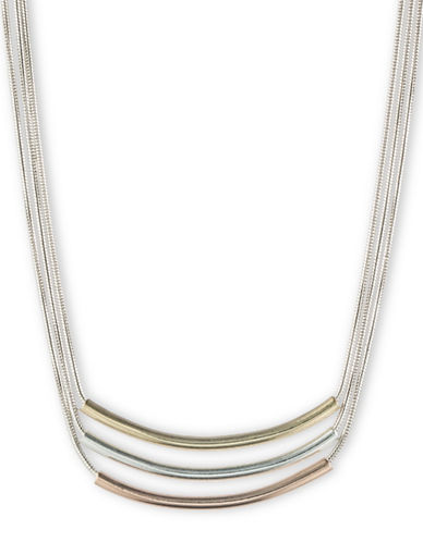 Nine West Three Bar Pendant Necklace-GOLD-One Size
