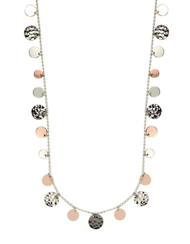 Nine West Hammered Metal Coin Strand Necklace-GOLD/SILVER-One Size