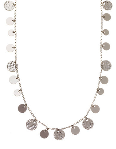 Nine West Hammered Metal Coin Strand Necklace-SILVER-One Size