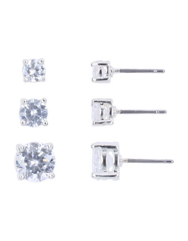 Nine West Set of Three Size Stud Earrings-SILVER-One Size