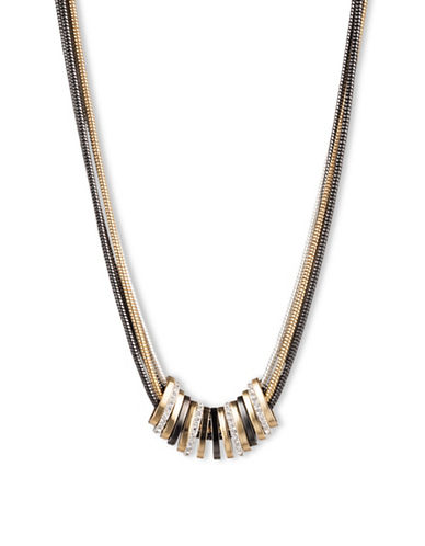 Nine West Multi-Tone Metal Slider Necklace-GOLD-One Size